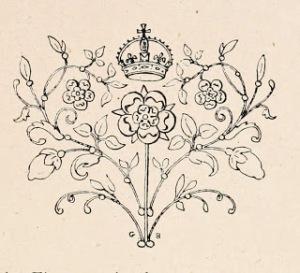 Decorative Illustration; Floral, Heart, Crown, 1902