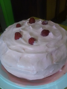 Raspberry filled Whip cream cake with gelatin